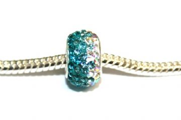 1pce x Teal - turquoise - clear 12mm x 8mm pave crystal bead - d with 5mm hole PS-S-12- 034